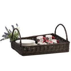 WICKER RECTANGULAR TRAY WITH HANDLES LINED 60X50 H12 CM