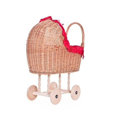 Doll play pram, Wicker doll pram with fabric