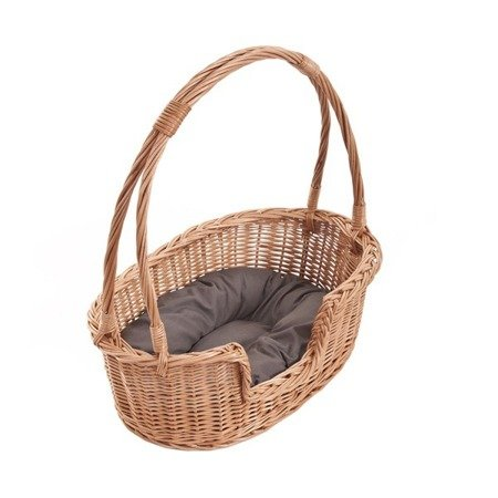 Wicker Oval Bed with Pillow