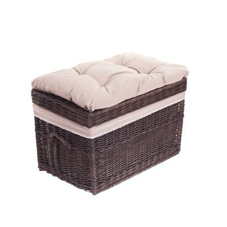 Brown wicker storage basket,  Bedding box