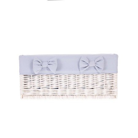 White wicker shelf storage organizer with lining