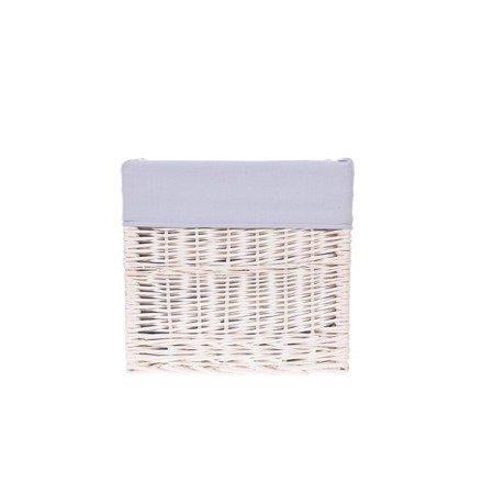 White wicker shelf storage organizer with lining