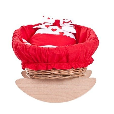 Wicker baby doll rocking cradle