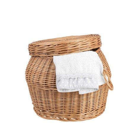 Kleiner, runder Wäschekorb aus Weide / Spielzeugkasten