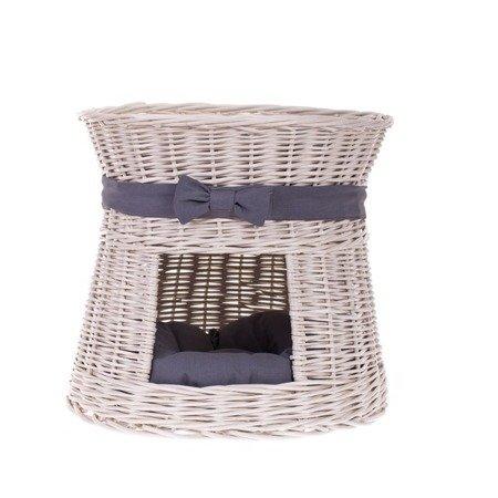 Runde Katzenhütte in Beige / Katzenkorb aus Weide