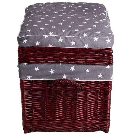 Kufer wiklinowy czerwony z obszyciem