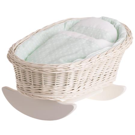 Łóżeczko wiklinowe dla lalek białe
