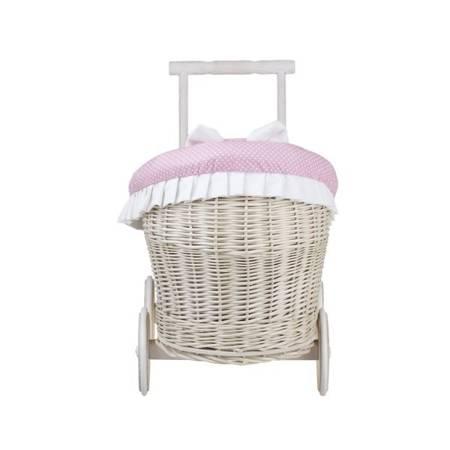Wózek wiklinowy dla lalek z obszyciem różowym